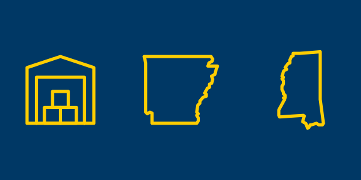 Self storage, Arkansas, and Mississippi icons.