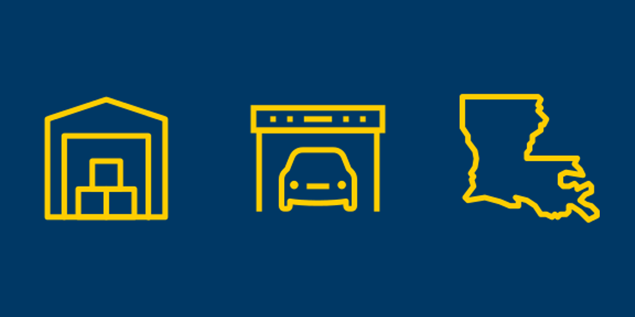 Self-storage, vehicle storage, and Louisiana icons.