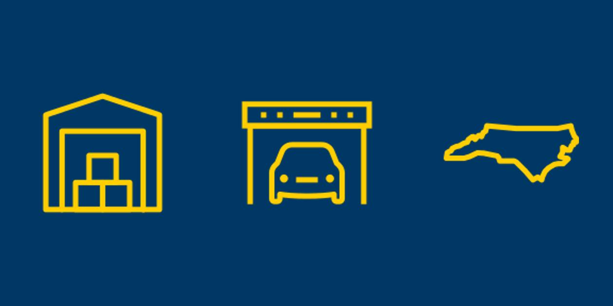 Self storage, vehicle parking and North Carolina icons