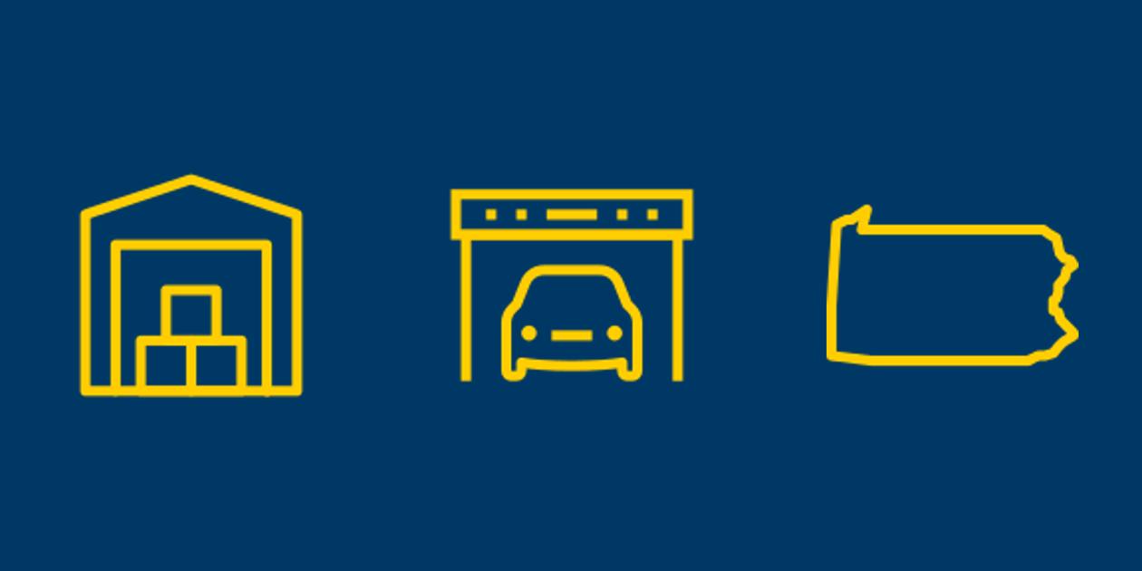 Self storage, vehicle storage, and Pennsylvania icons