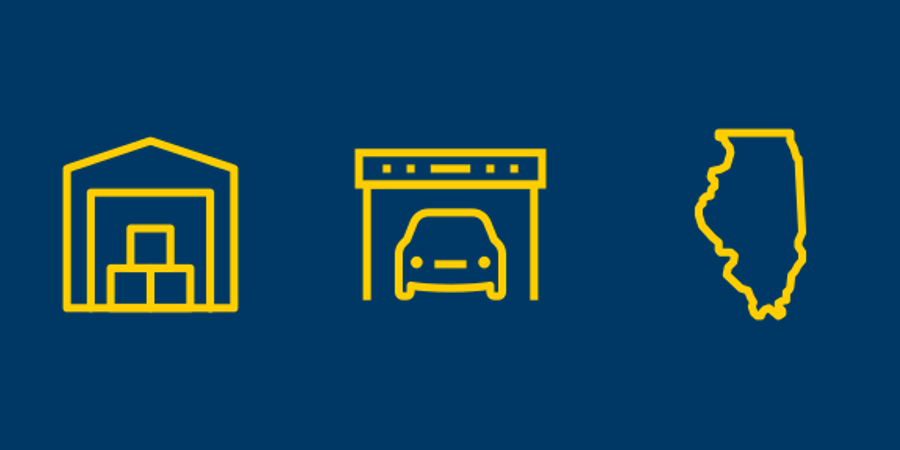 Self-storage, vehicle storage, and Illinois icons.