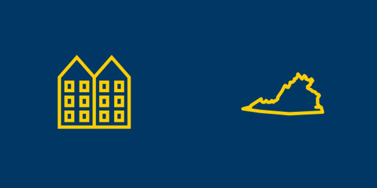 Apartment complex and Virginia icons.