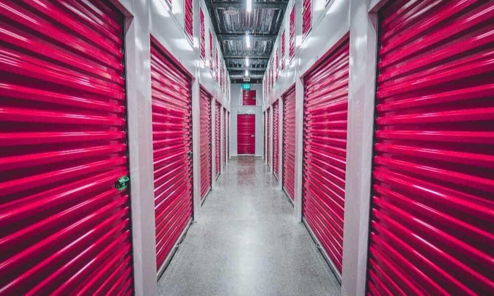 Self-storage interior hallway.