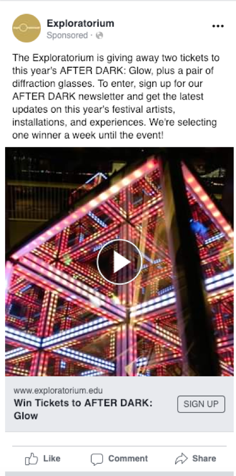 Exploratorium Facebook Lead Ad Example