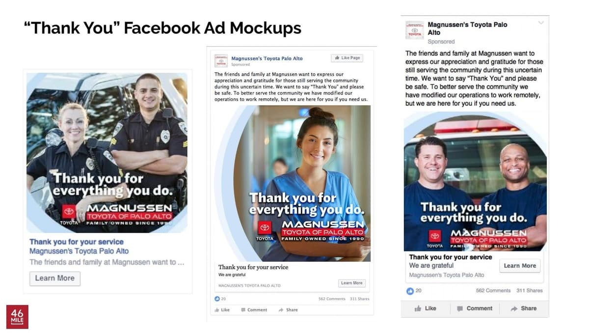 Facebook Ad Mock-Ups for Magnussens COVID-19 Ad Campaign