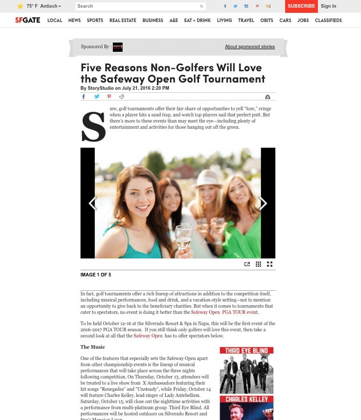 Safeway Open Golf Tournament StoryStudio Native Ad Example copy