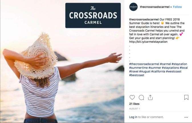 The Crossroads carmel instagram post example 46Mile