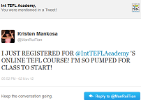 Kristen Mankosa tweeting International TEFL Academy trim 2