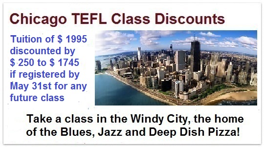 Chicago tefl discount may 31