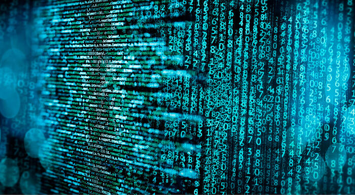Cybersecurity code and data abstract image.
