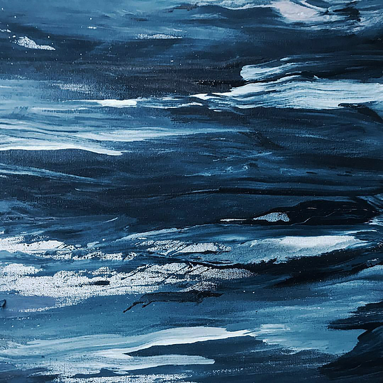 Close-up of oil paint brush strokes, various shades of blue