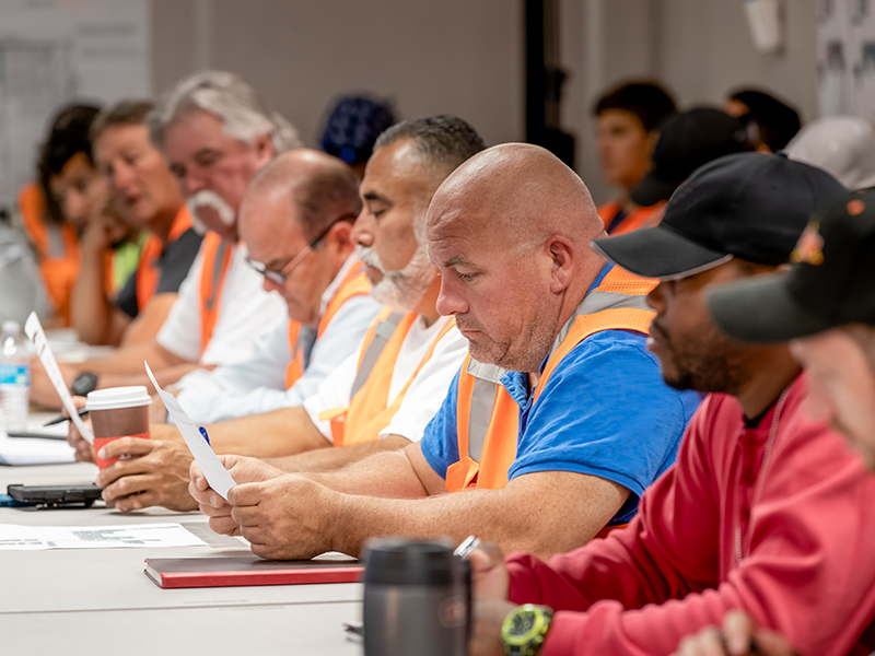 Employees at safety program