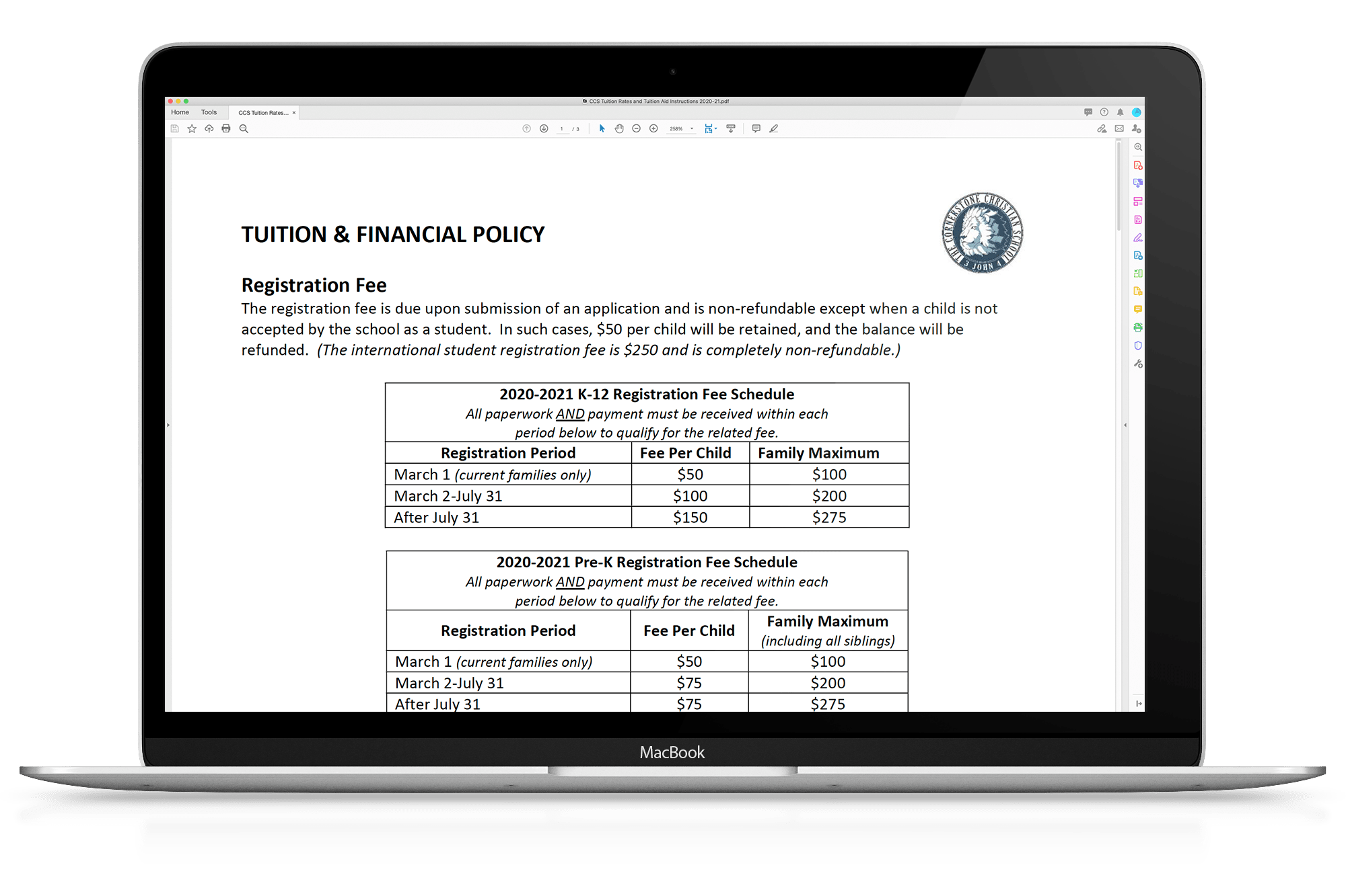 tuition and fees - mock up - macbook
