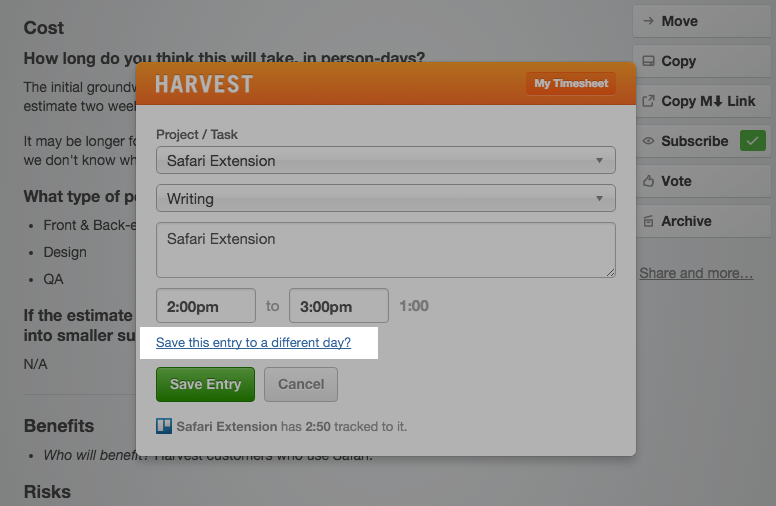 Changing date from Harvest Button