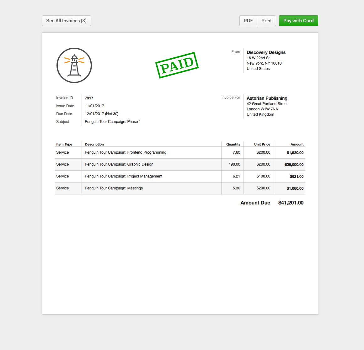 Harvest Online Invoice