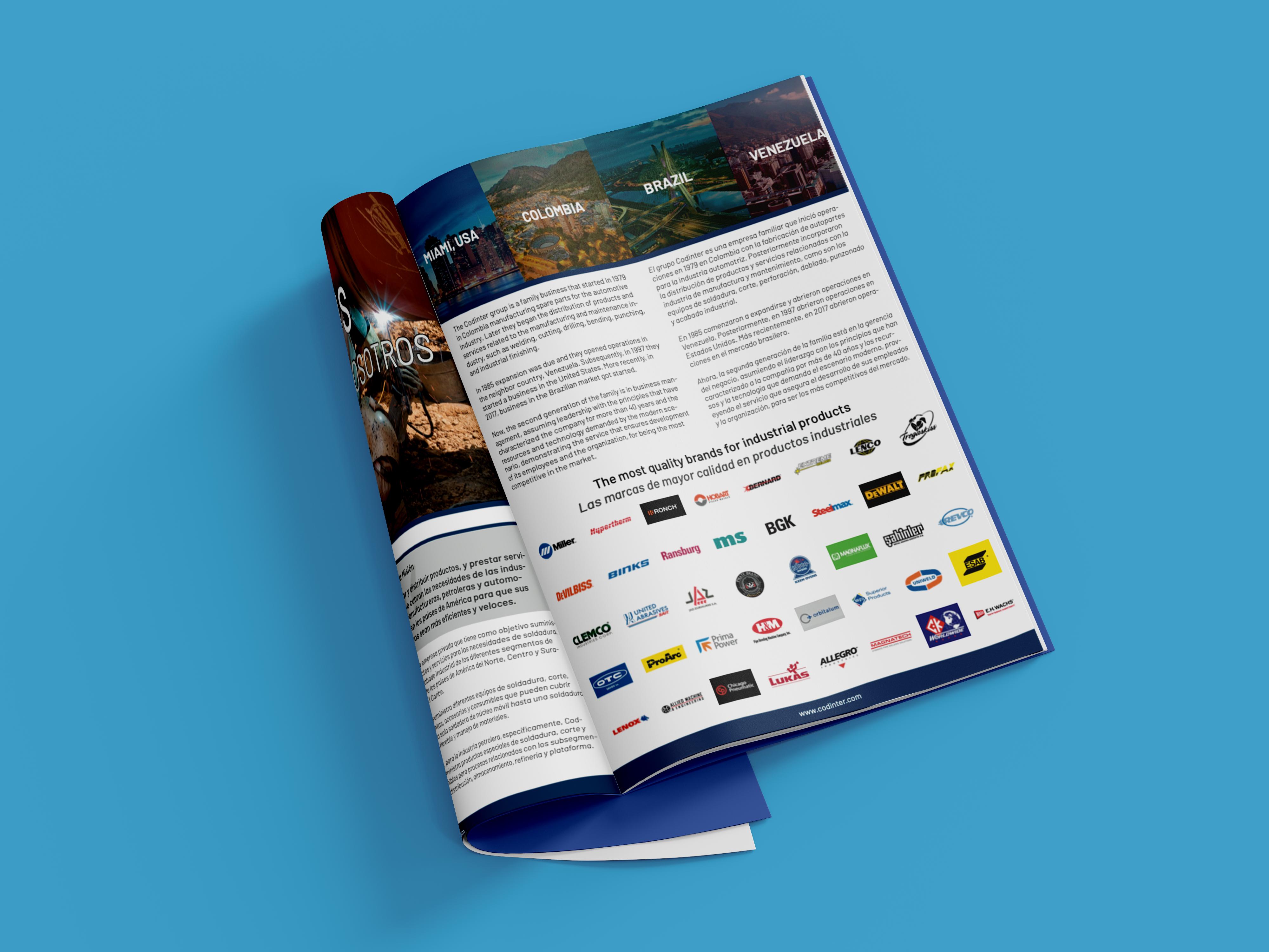 Industrial Catalog Mockup on Blue Background