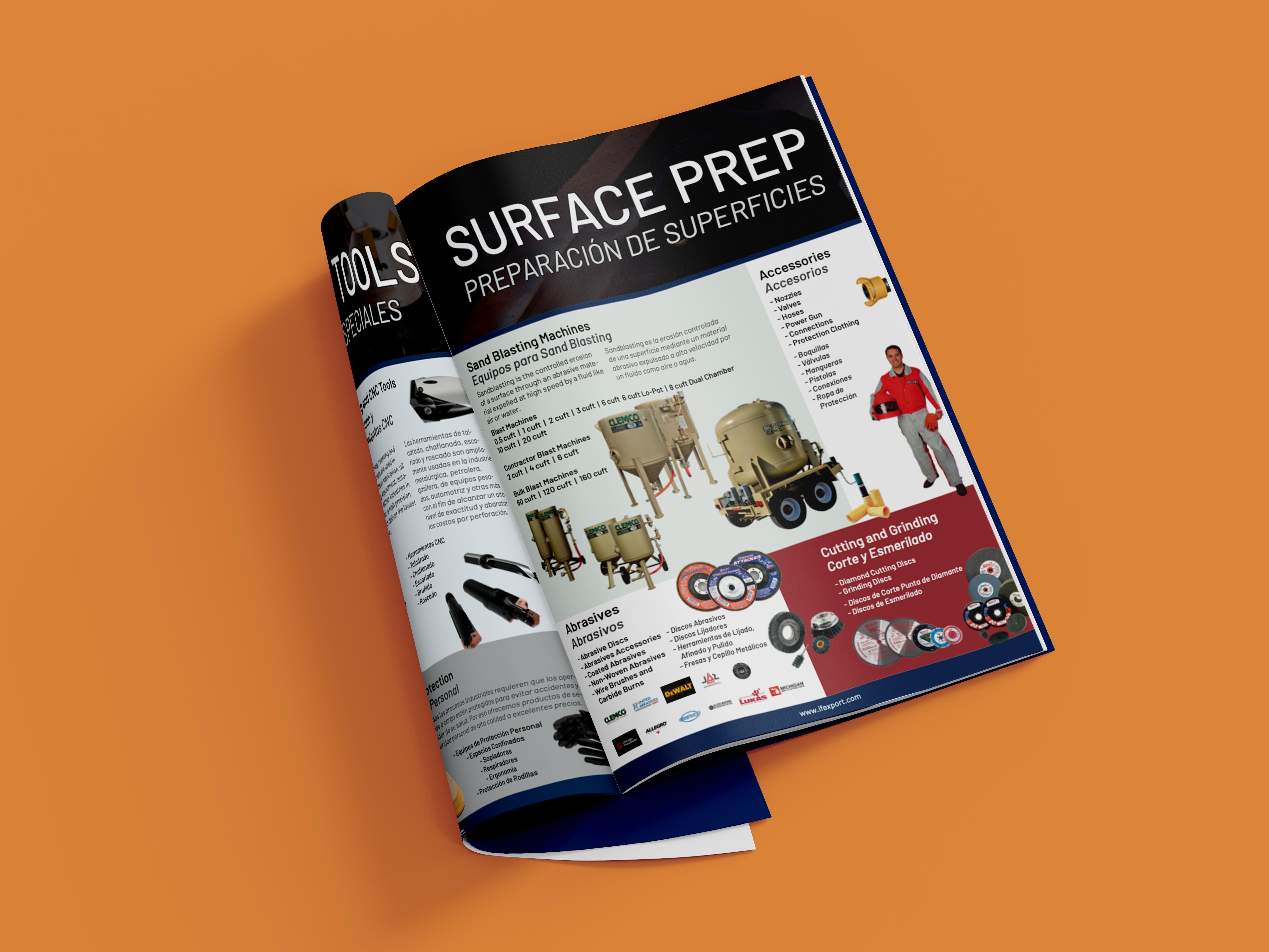 Industrial Catalog Folded Mockup on Orange Background