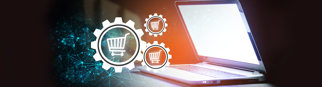 gears and shopping carts coming out of a laptop