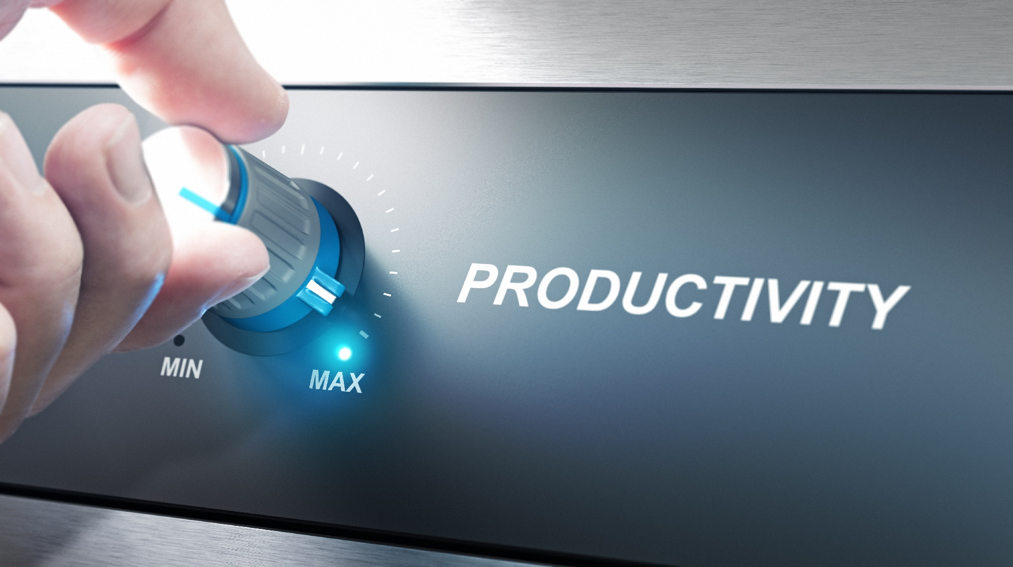 Image of person turning knob to max productivity