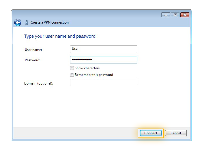 Entering the username and password for a VPN in Windows 7