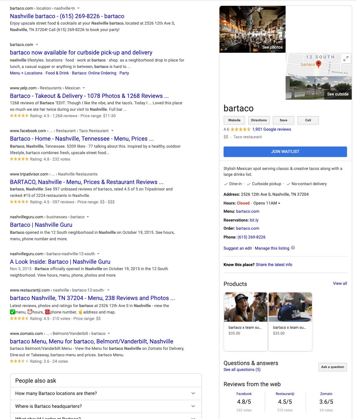 bartaco nashville google results