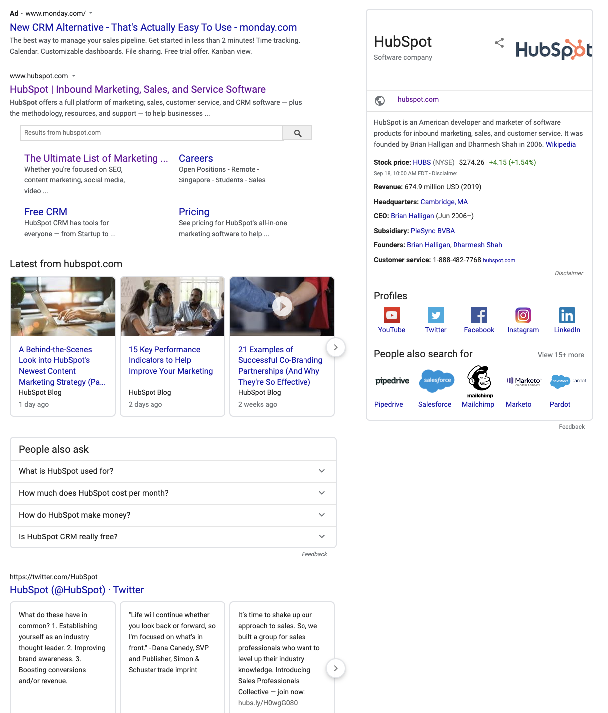 hubspot google results
