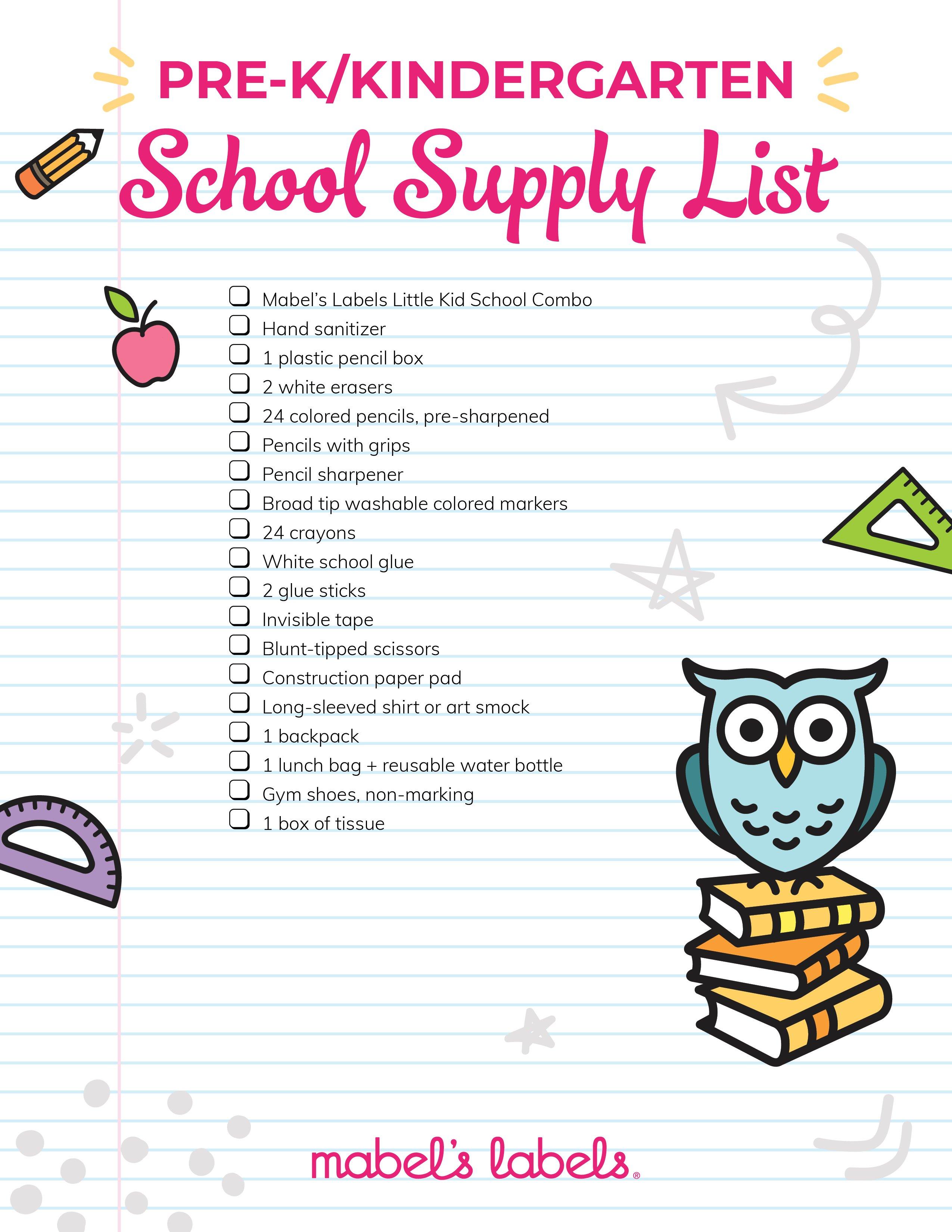 PreK Kindergarten checklist