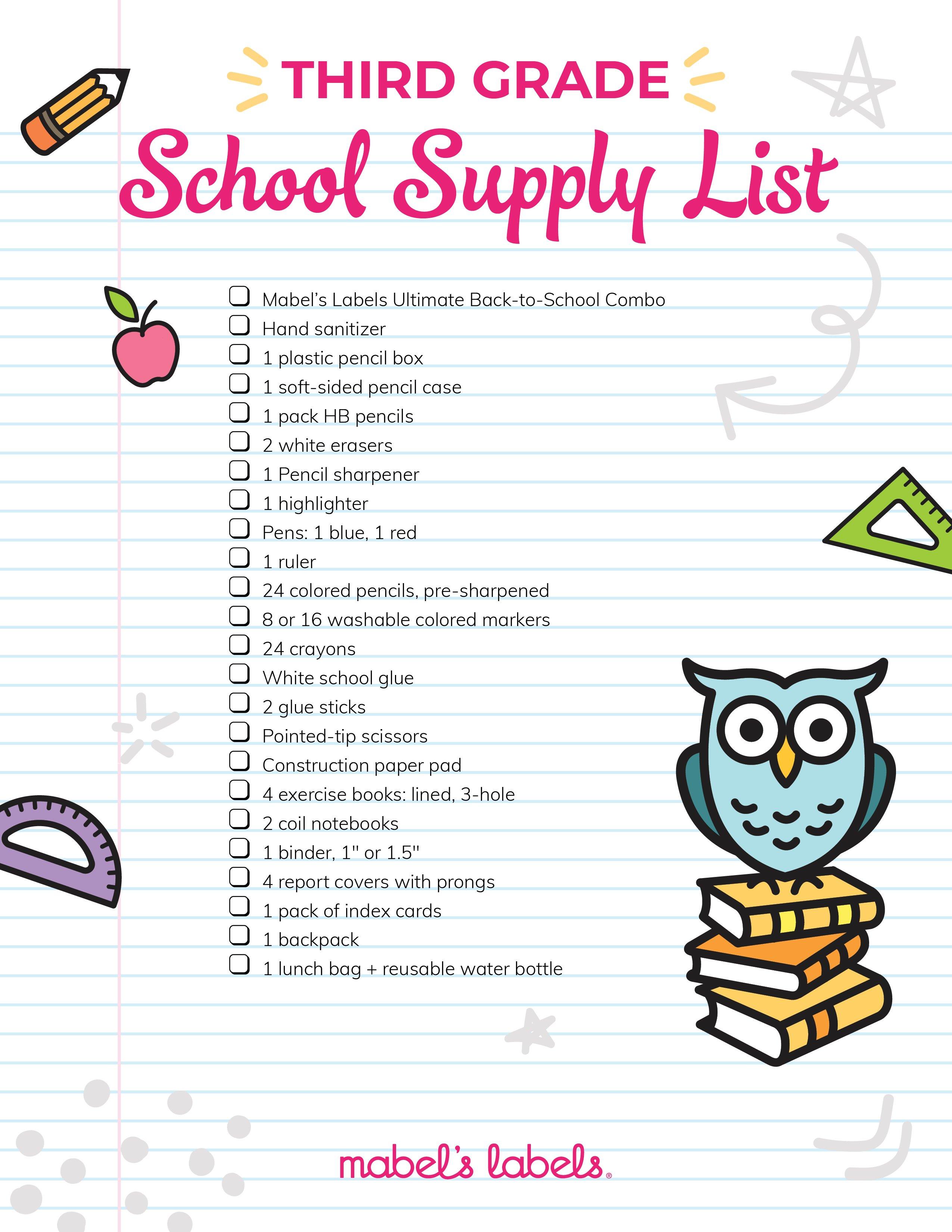 Third Grade Checklist