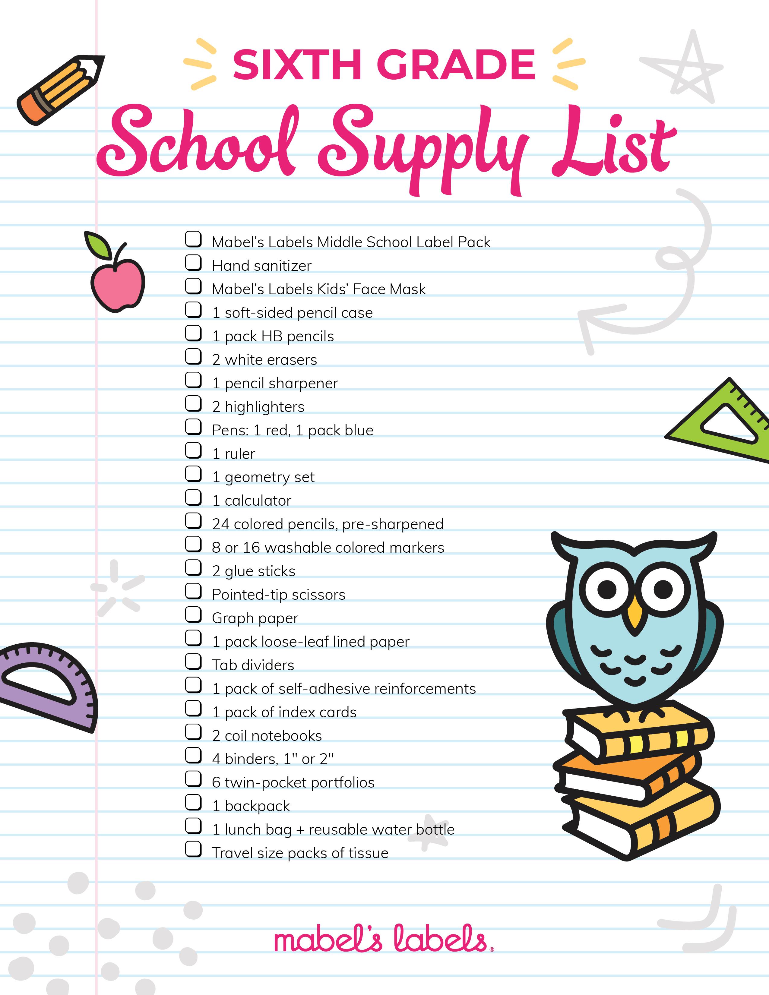 Sixth Grade Checklist