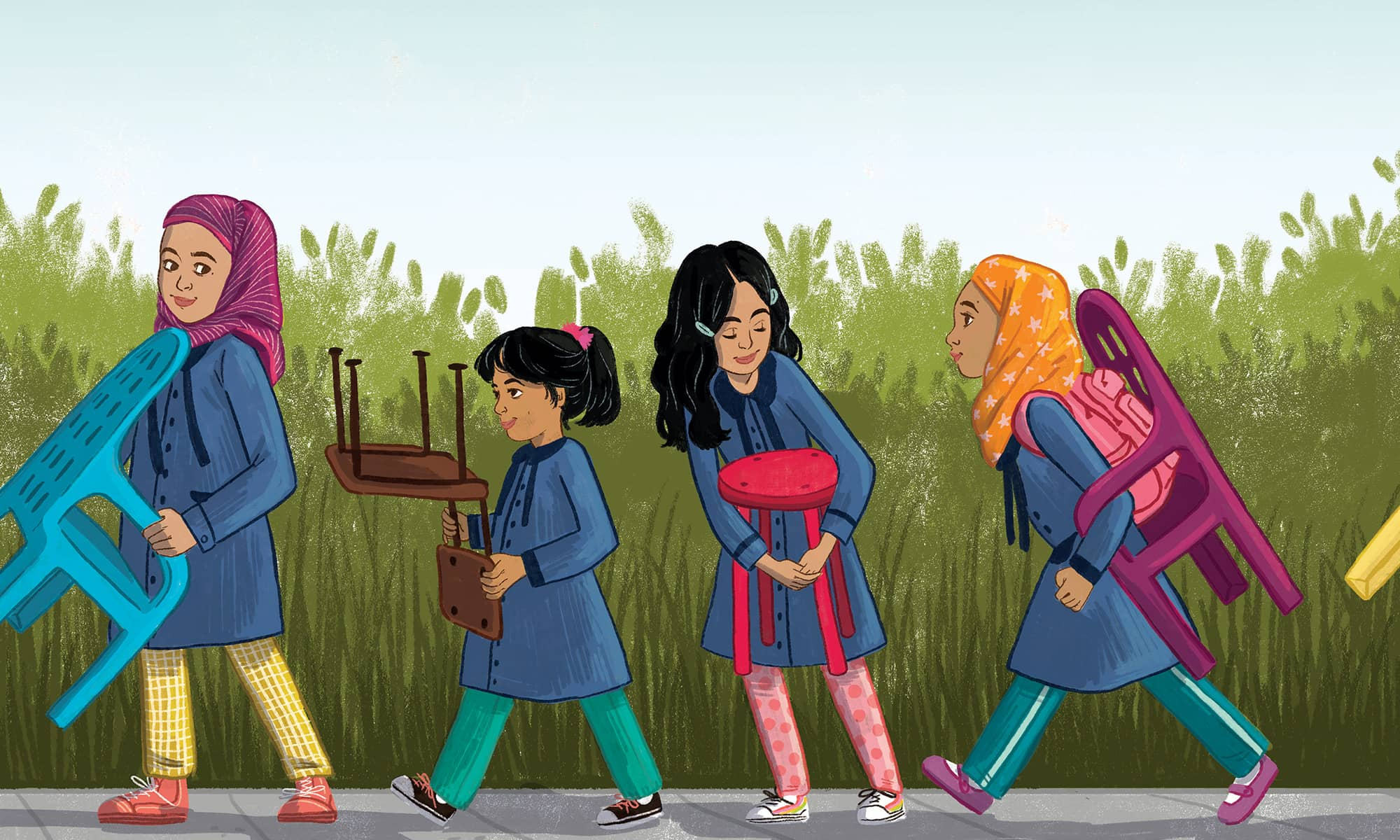 Painting of four girls in a line each carrying a chair.