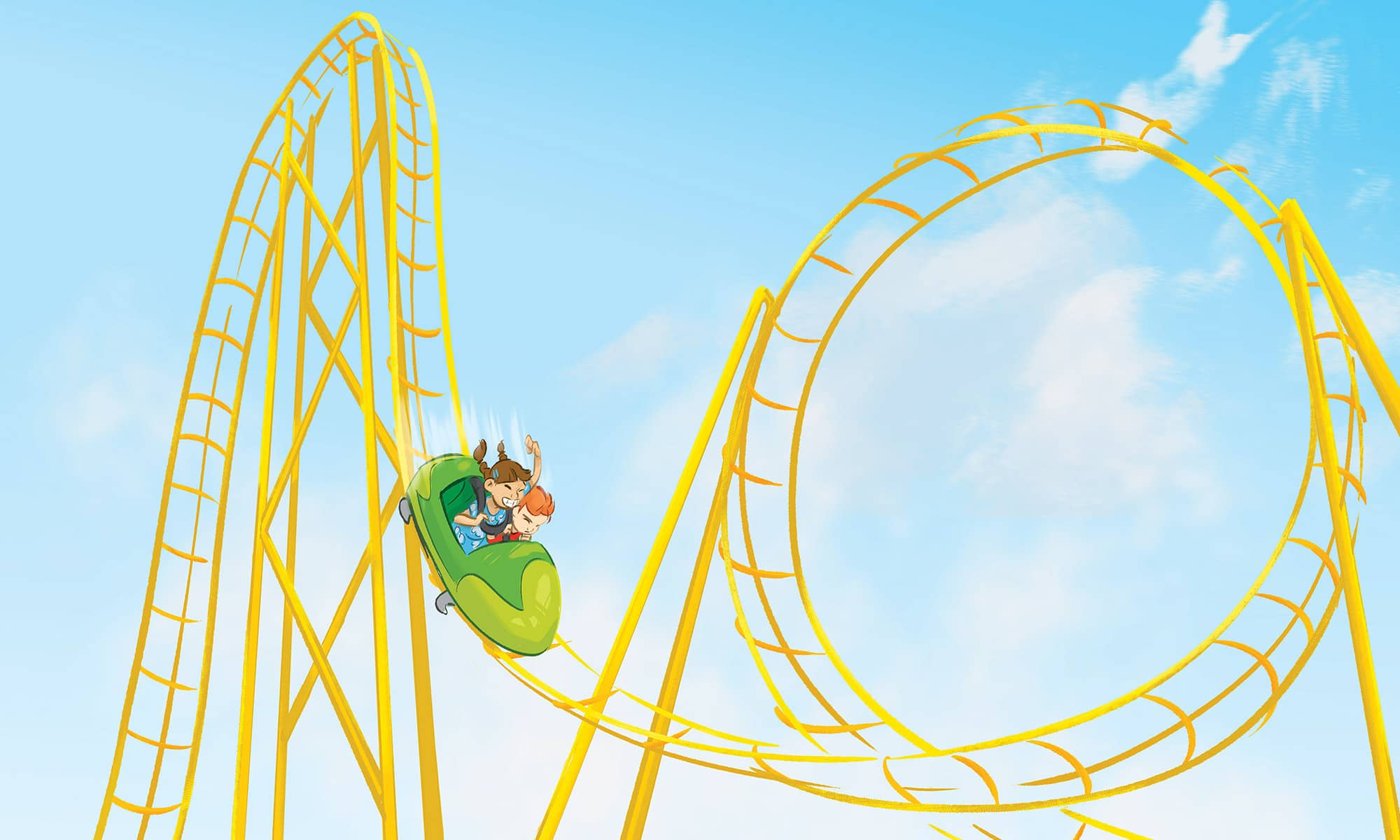 Painting of small green rollercoaster on an big yellow track in the sky.