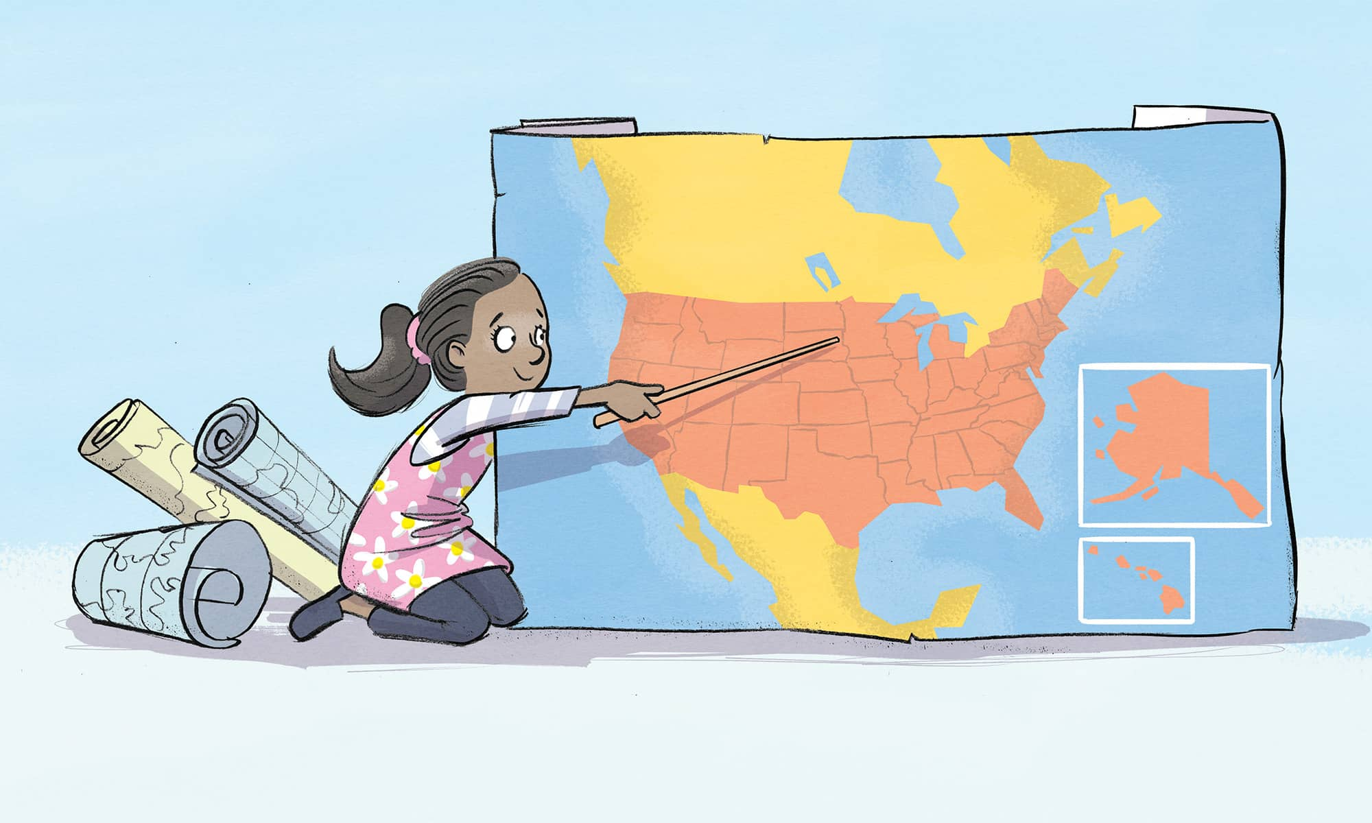 Drawing of student pointing to the United States on a large map.