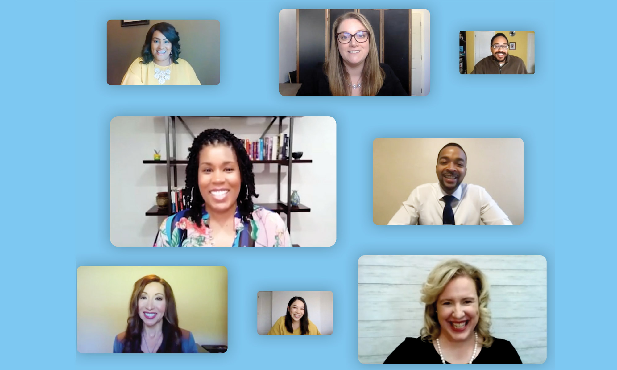 Several video calls with teachers on a field of blue.