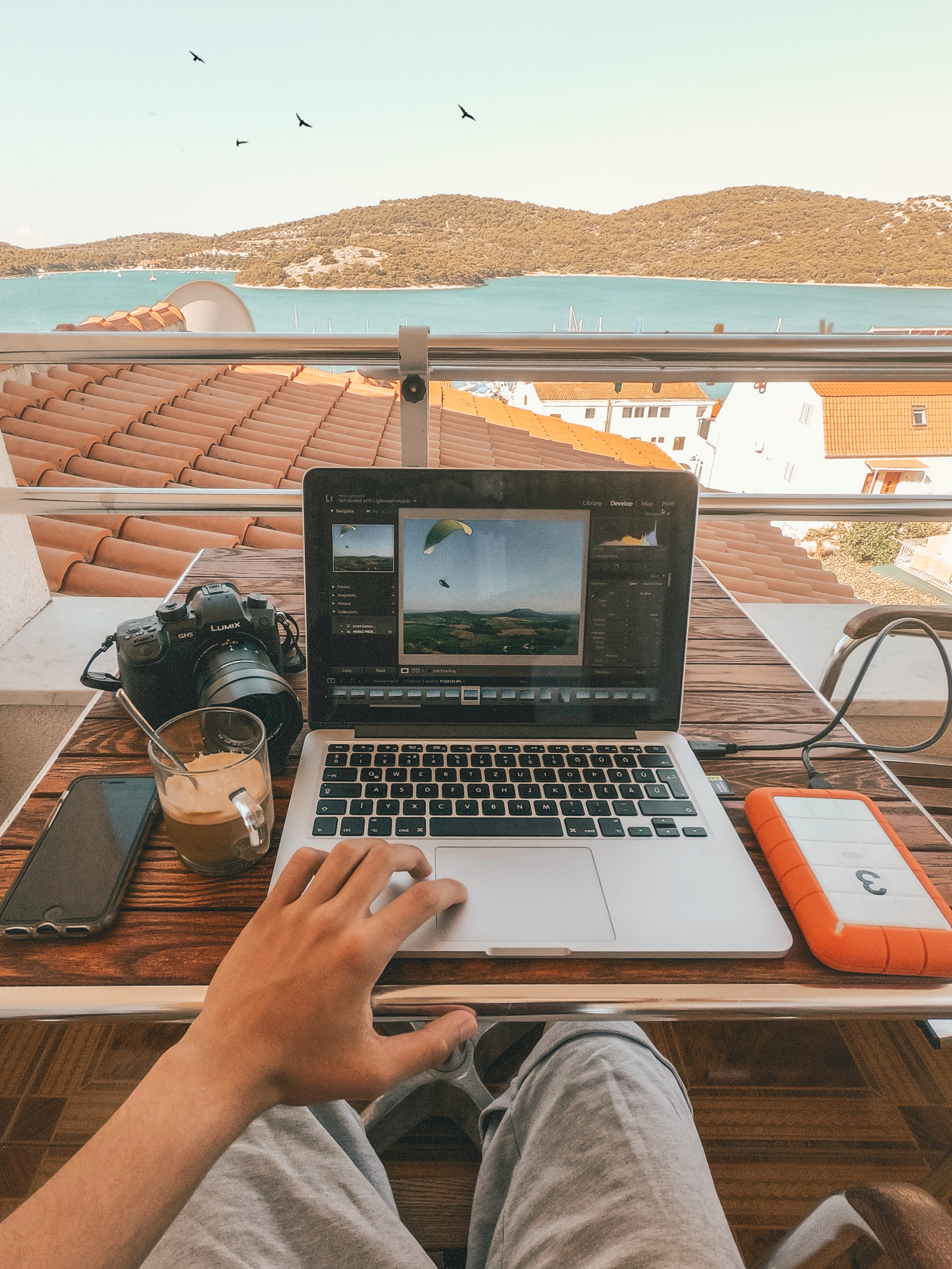 Student working remotely with a view