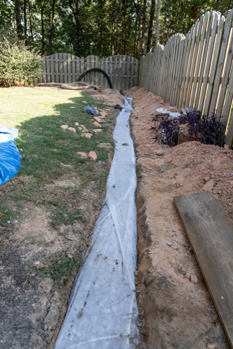 french drain almost completed