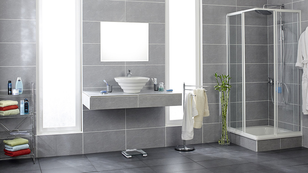Picture of bathroom with gray tile