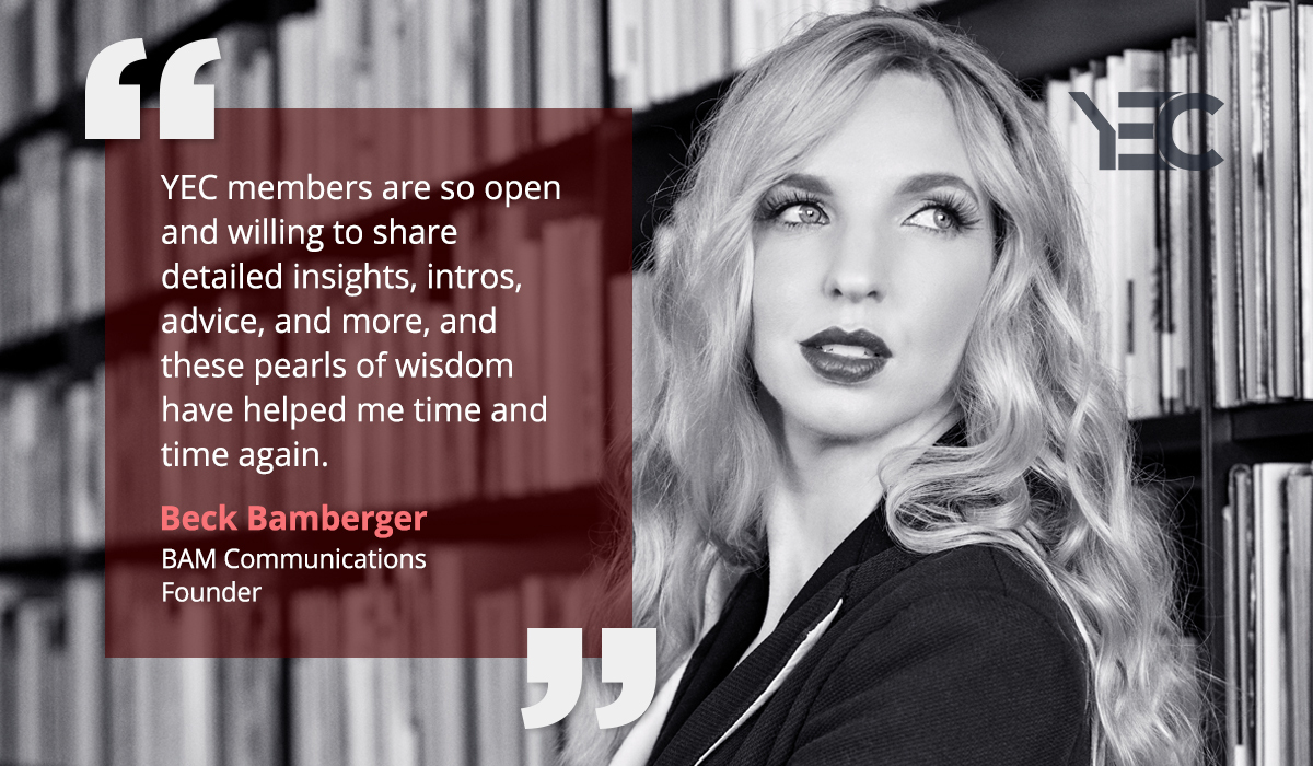 Beck Bamberger Values YEC's Pearls of Wisdom as She Grows Her Company