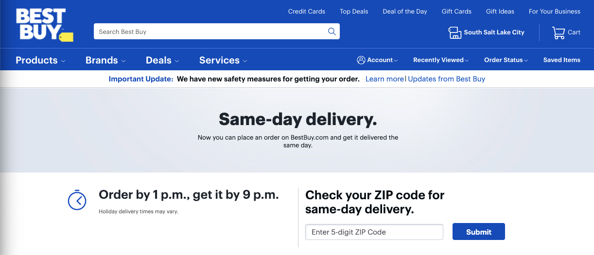 Offering Same Day Delivery