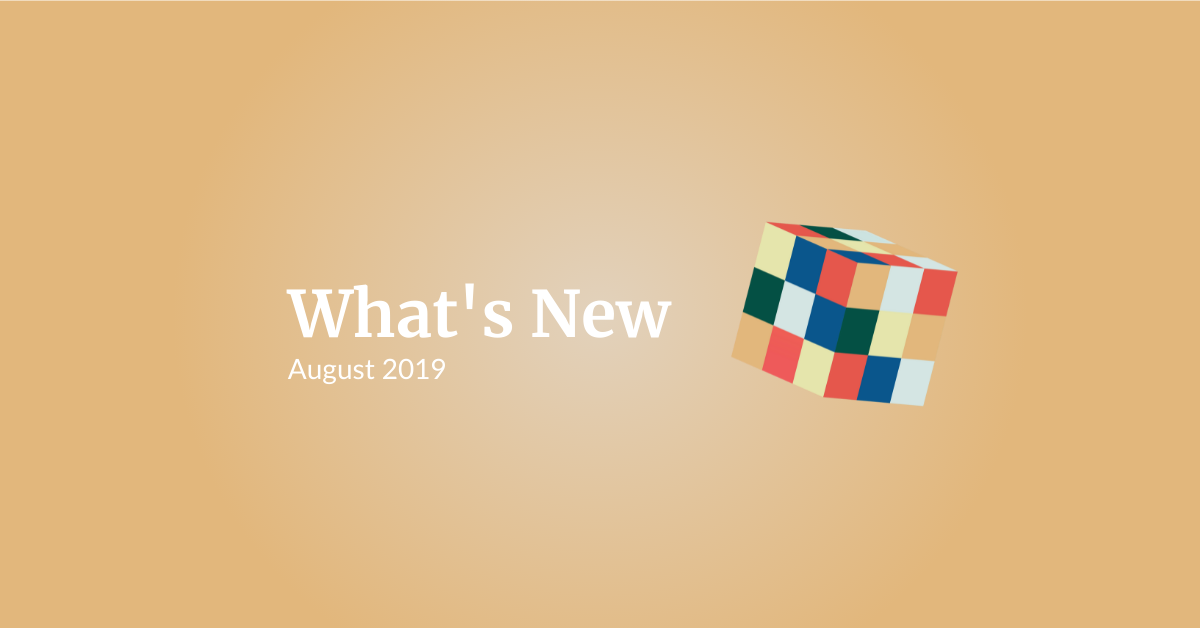 What's New: Augustus 2019