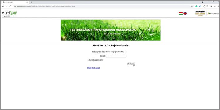Honline esetbejelentő rendszer - bejelentkezési felület