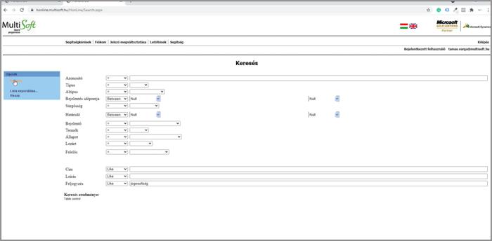 HonLine esetbejelentő rendszer - Keresés az esetek között